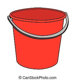 rotes , wischeimer, freigestellt, abbildung, karikatur