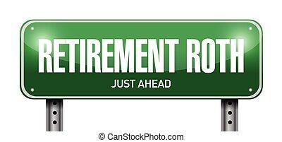 roth, pensioen, straat, illustratie, meldingsbord