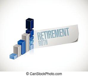 roth, pensionamento, grafico, affari firmano