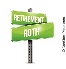 roth, retraite, rue, illustration, signe