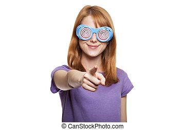 rothaarige, m�dchen, mit, lustige brille