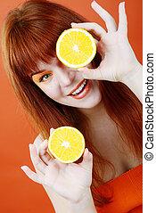 rothaarige, m�dchen, mit, orange