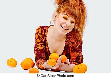 rothaarige, m�dchen, mit, orangen
