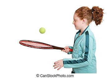 rothaarige, und, tennisschläger