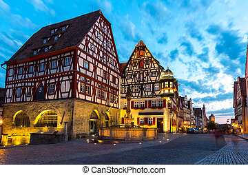 Rothenburg ob der Tauber Germany at dusk