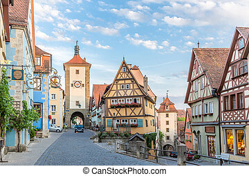 Rothenburg ob der Tauber historic town downtown, Franconia, Bavaria, Germany