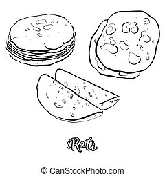 Roti food sketch separated on white. Vector drawing of ...