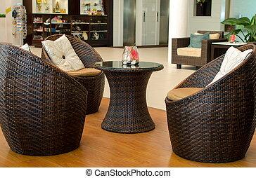 rotin, furniture., fauteuil