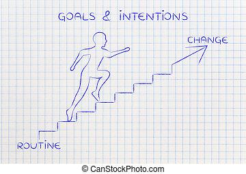 rotina, ou, mudança, homem subobe, escadas, metáfora