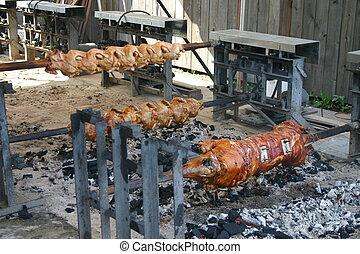 rotisserie, carne
