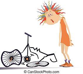 roto, aislado, mujer, ilustración, bicicleta, ciclista