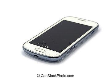 roto, aislado, teléfono, plano de fondo, blanco, elegante