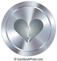 roto, botón, industrial, corazón