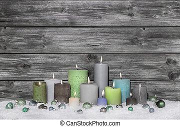 roto, chique, decoração natal, ligado, cinzento, madeira,...