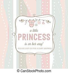 roto, chique, menina bebê, chuveiro, cartão