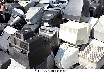 roto, computadoras, viejo, monitores