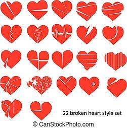 roto, conjunto, corazón