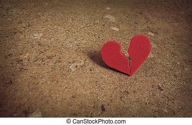 roto, dividir, corazón