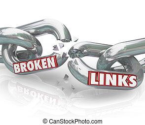 roto, enlaces, cadena, separado, dañado, conexiones
