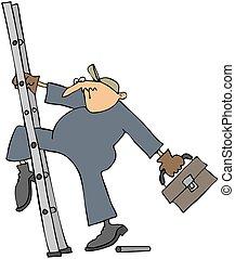 roto, escalera, trabajador, se resbalar