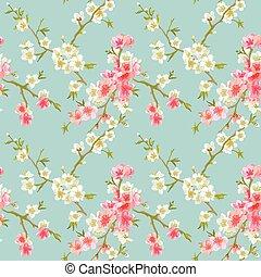 roto, flor, primavera, -, seamless, vetorial, padrão...