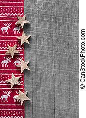 roto, madeira, reindeer., cinzento, fundo, natal, vermelho