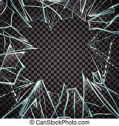 roto, marco, transparente, vidrio