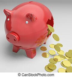 roto, piggybank, exposiciones, efectivo, ahorros