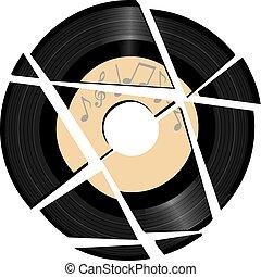 roto, registro vinilo, con, música, etiqueta