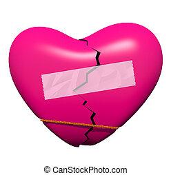 roto, reparación, corazón