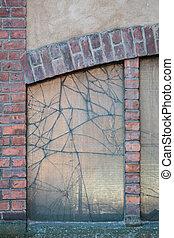 roto, ventana, en, viejo, fábrica, edificio