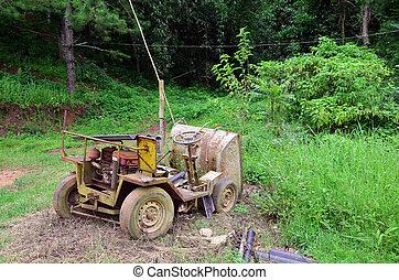 roto, viejo, máquina, para, construcción