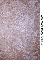 roto, vindima, papel parede, têxtil, vitoriano, bege, padrão