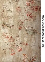 roto, vindima, papel parede, vitoriano, bege, padrão, floral, chique