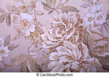 roto, vindima, papel parede, vitoriano, padrão, floral, chique