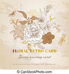 roto, vindima, -, vetorial, desenho, floral, chique, cartão
