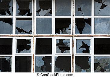 roto, windows, de, edificio viejo