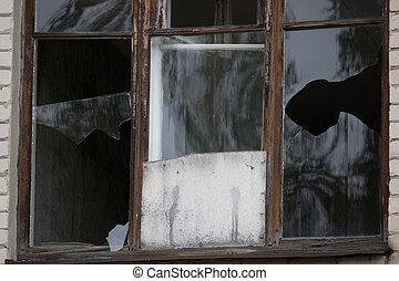 roto, windows, en, un, edificio