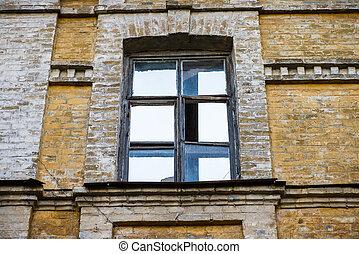 roto, windows, en, un, viejo, casa