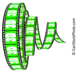 rotolato, avanti, film, 3d