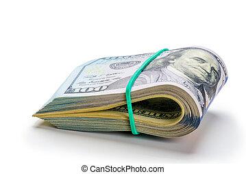 rotolato, dollari, soldi., uno, banconote, cento, tubo