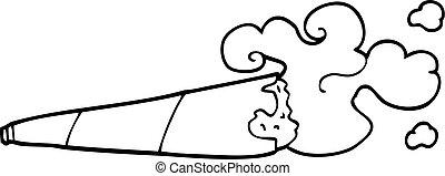 rotolato, sigaretta, rivestire disegno, cartone animato