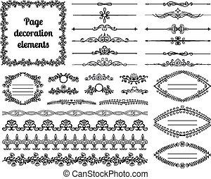 rotoli, divisori, vignettes, decoration., calligraphic, elementi, disegno, cornici, profili di fodera, pagina