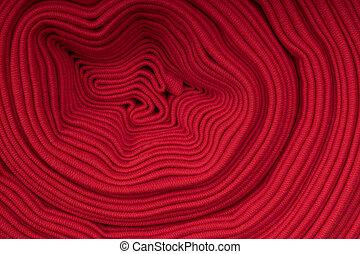 rotolo, di, rosso, tessuto, vista laterale