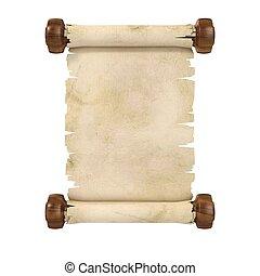 rotolo, pergamena, illustrazione, 3d
