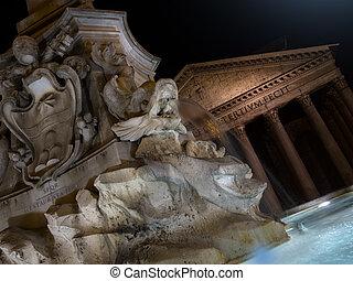 rotonda, イタリア, 広場, ローマ, パンテオン, 外, 噴水, 夜