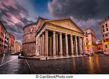 rotonda, italia, plaza, roma, panteón, mañana, della