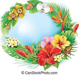 rotondo, bandiera, da, fiori tropicali, e, foglie