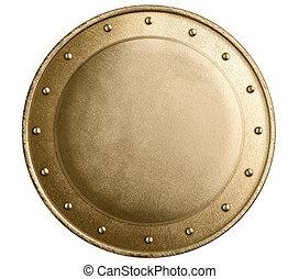 rotondo, bronzo, o, oro, metallo, medievale, scudo, isolato
