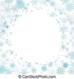 rotondo, cornice, con, piccolo, blu, fiocchi neve